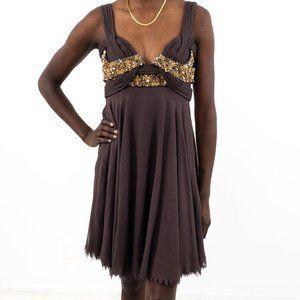 Vintage Y2K XS Silk Beaded Mini Party Dress Brown